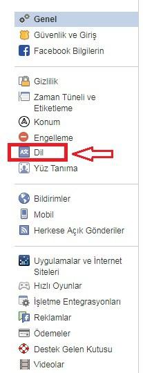bilgisayarda facebook dil