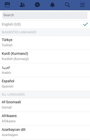 facebook dil değiştirme